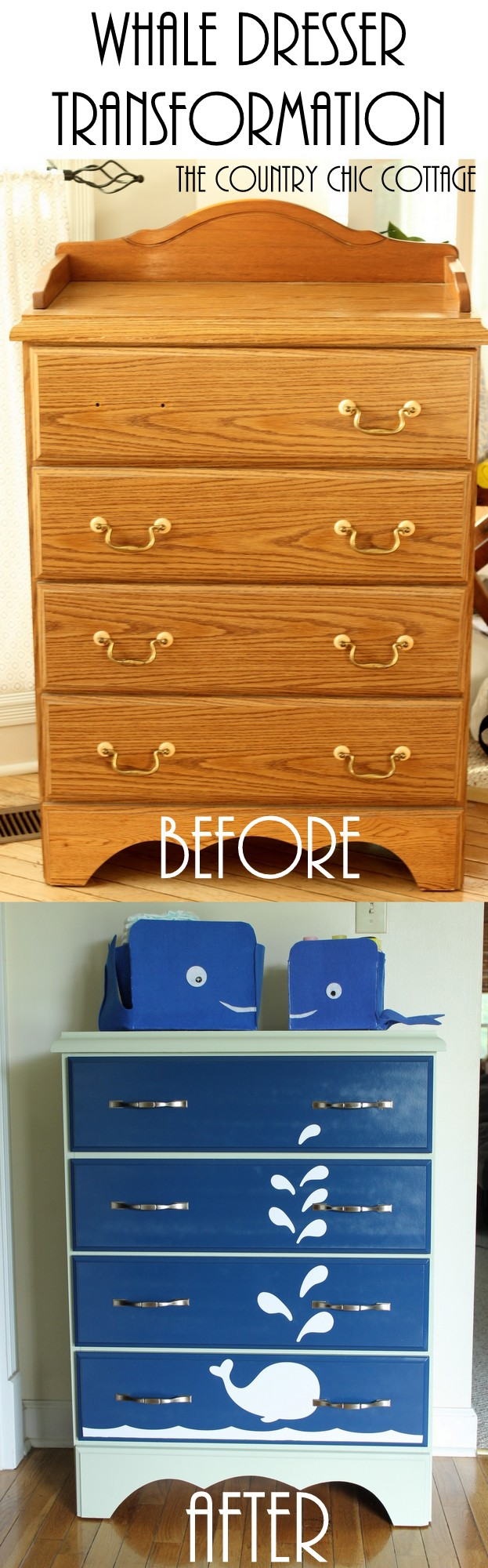 Use Krylon spray paint to create this fun whale painted dresser in just a few minutes. Click here to get the full tutorial!