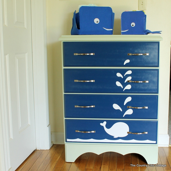 use krylon spray paint to create this fun whale painted dresser in. Black Bedroom Furniture Sets. Home Design Ideas