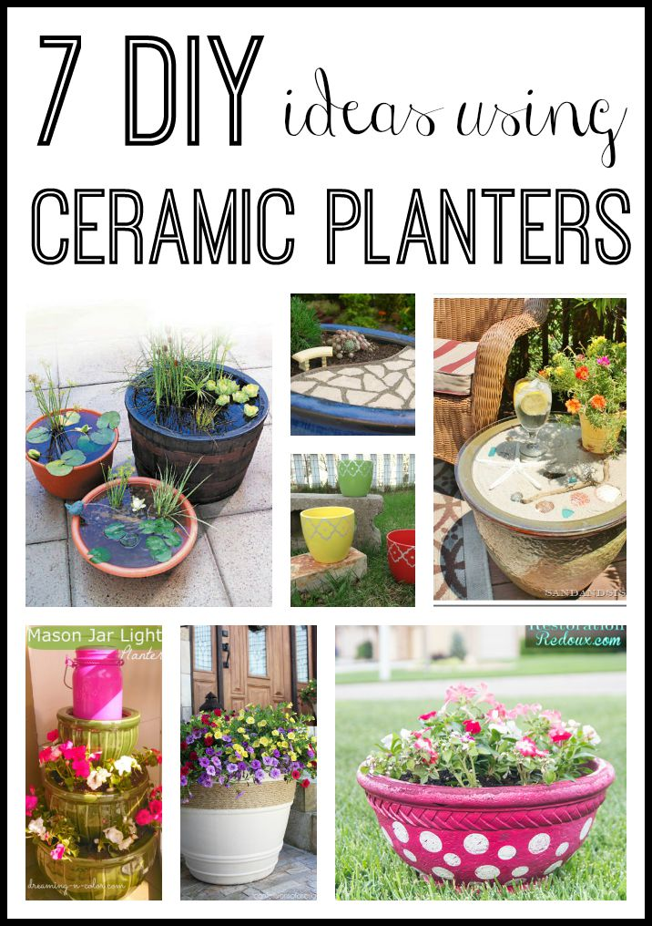 DIY ideas with ceramic planters -- great ideas for outdoors and in!