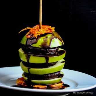 Make this chocolate peppermint apple as a twist on a caramel apple this fall!