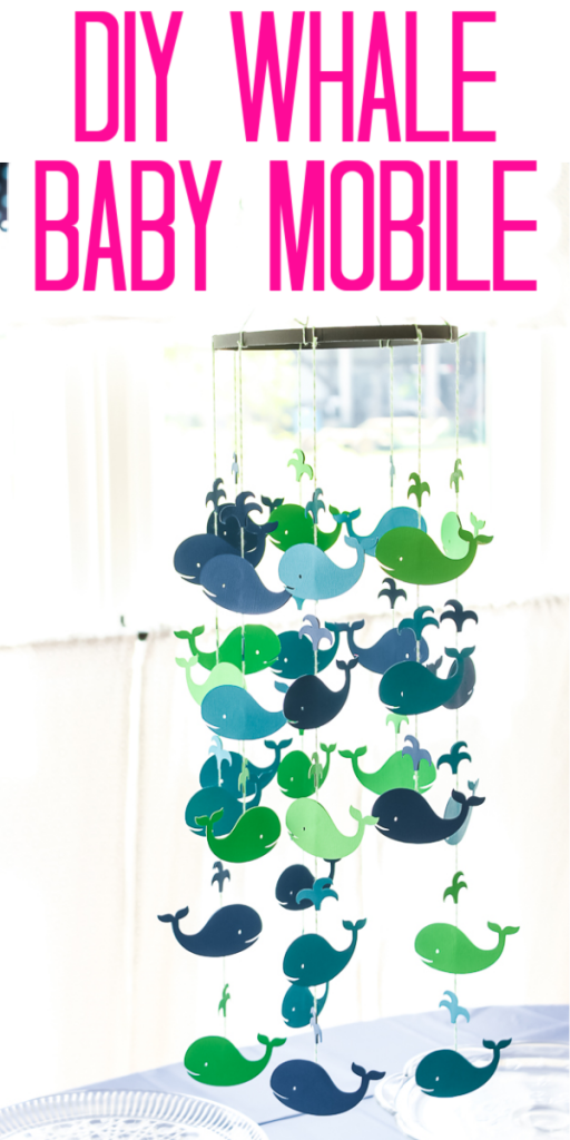 Make this whale baby mobile with your Cricut machine and just a few supplies! A DIY baby mobile can be customized to any theme of your baby's nursery! #baby #mobile #cricut #cricutmade