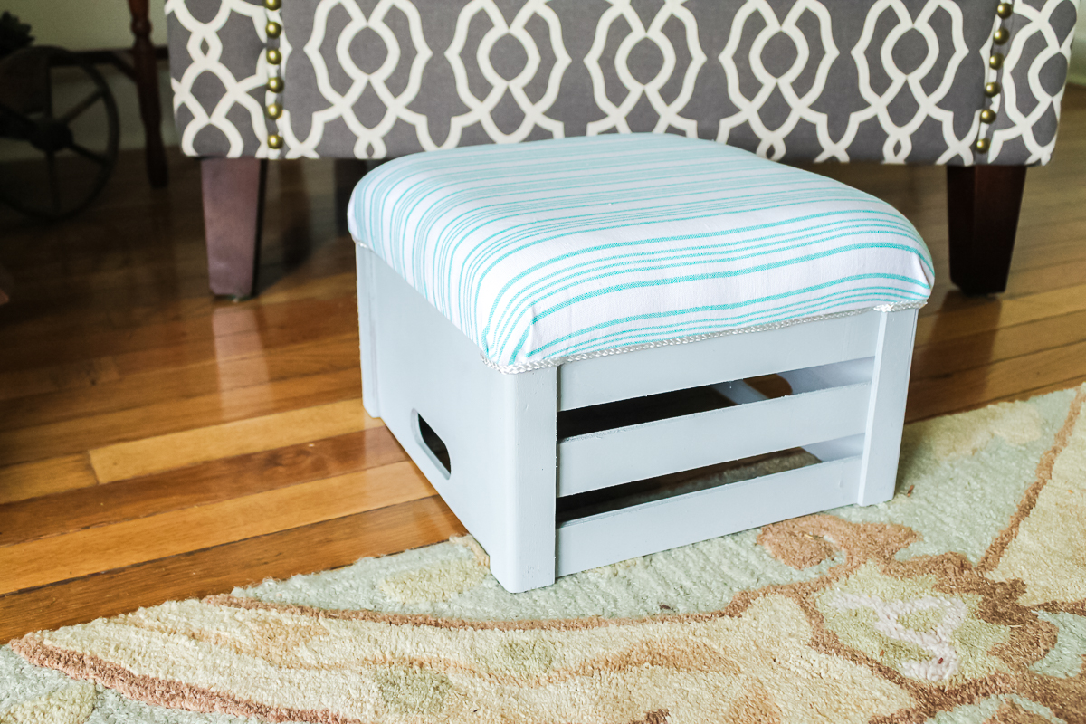 footstool made from a crate