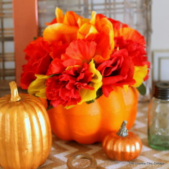 Make this dollar store flower pumpkin in just minutes with a few dollars worth of supplies!