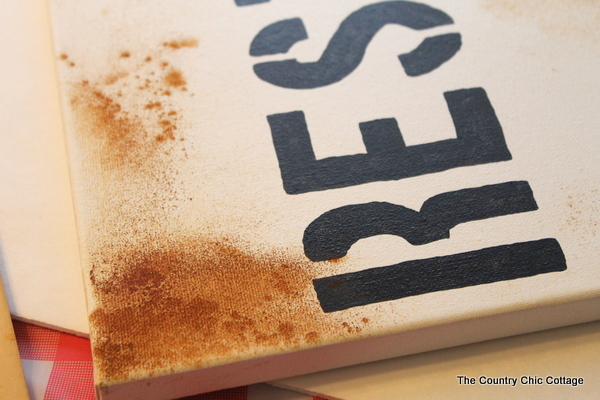 Make a rusty sign from items you have in your spice cabinet!  See how with this craft tutorial!