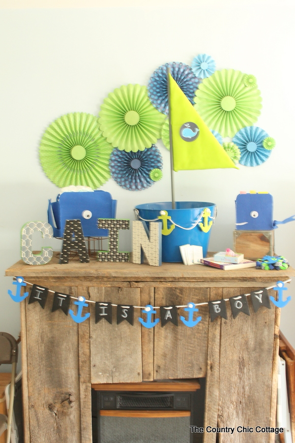 well you can see how to make that chalkboard baby shower banner here