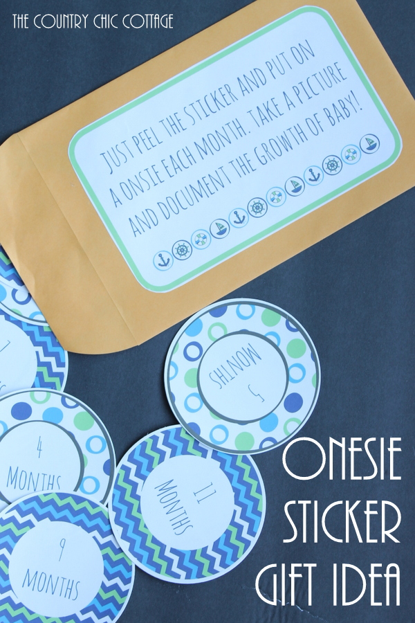 Onesie sticker gift idea - give these stickers at a baby shower. The mom to be can use one each month to take a picture of baby and see how much he grows! FREE PRINTABLE!