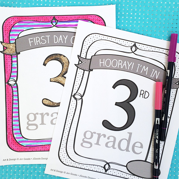 Personalized School Sign Printable and Coloring Pages designed by Jen Goode