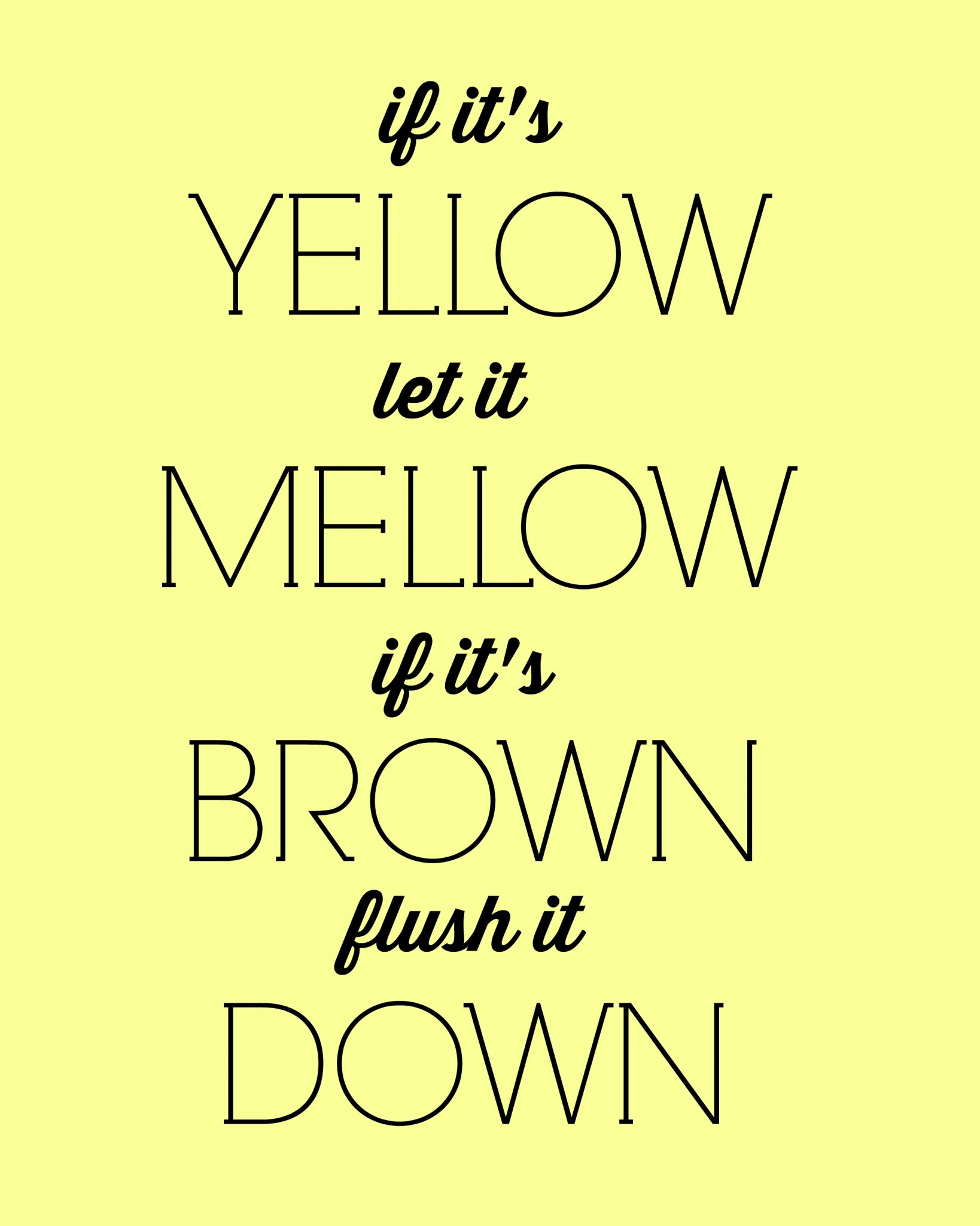 Free printable bathroom art inspired by Meet the Fockers! If it's yellow let it mellow if it's brown flush it down.
