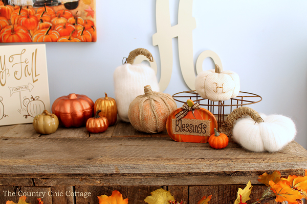handmade fall crafts on a mantel