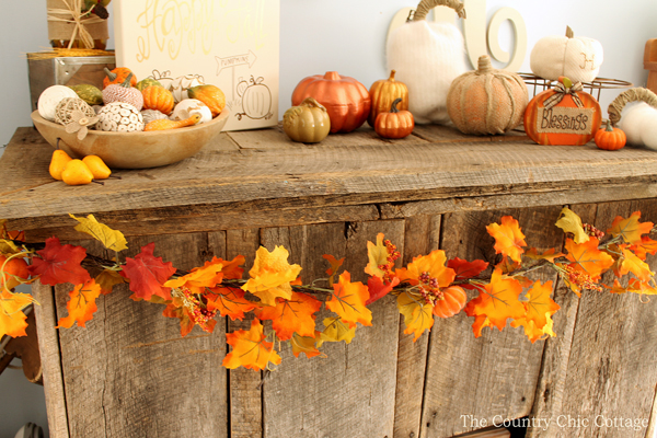 fall leaves on a mantel