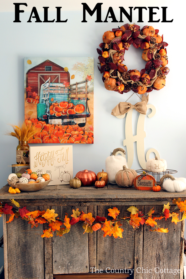 A gorgeous fall mantel with items from