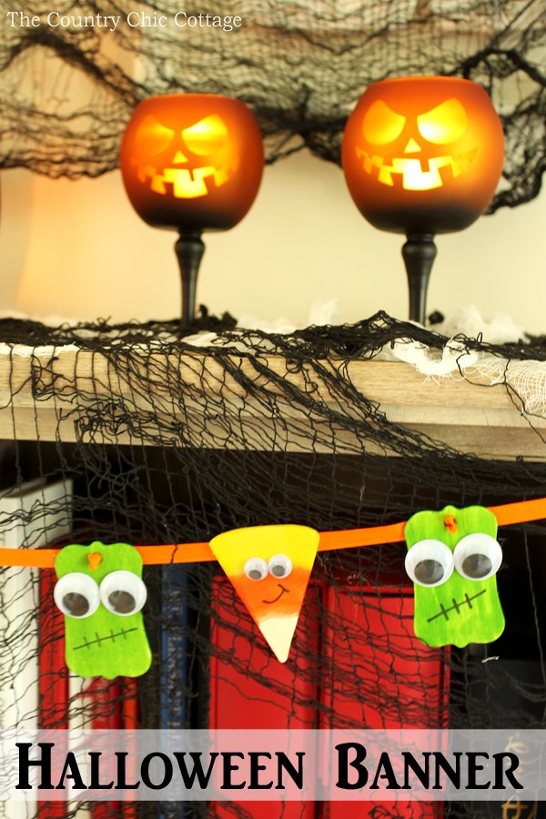 Make this Halloween banner with little candy corn and monsters in just minutes!