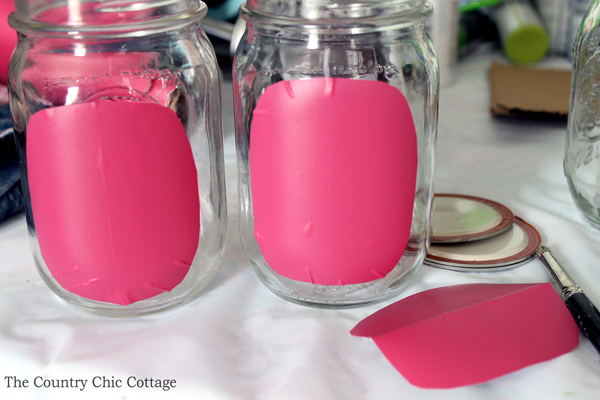using adhesive vinyl as a mask on jars