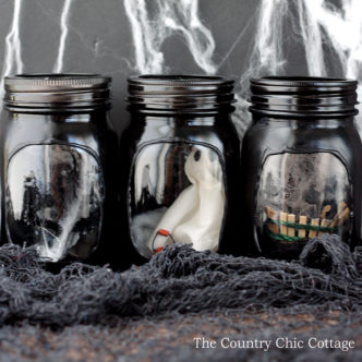 Haunted house mason jars -- a fun craft for your Halloween decorations!