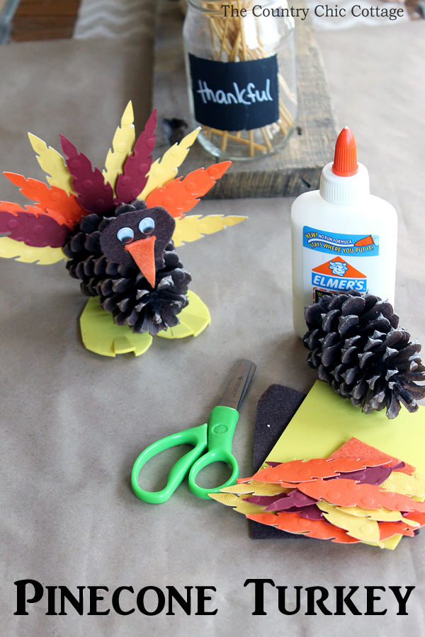 These pinecone turkeys are a fun craft to make for Thanksgiving! This is a great idea to let the kids make at the kids' table!