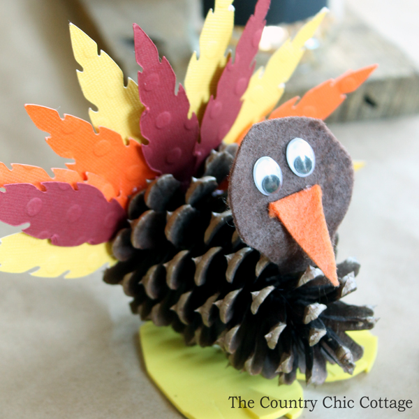 Kids 39 craft pine cone turkeys the country chic cottage for Thanksgiving turkey arts and crafts