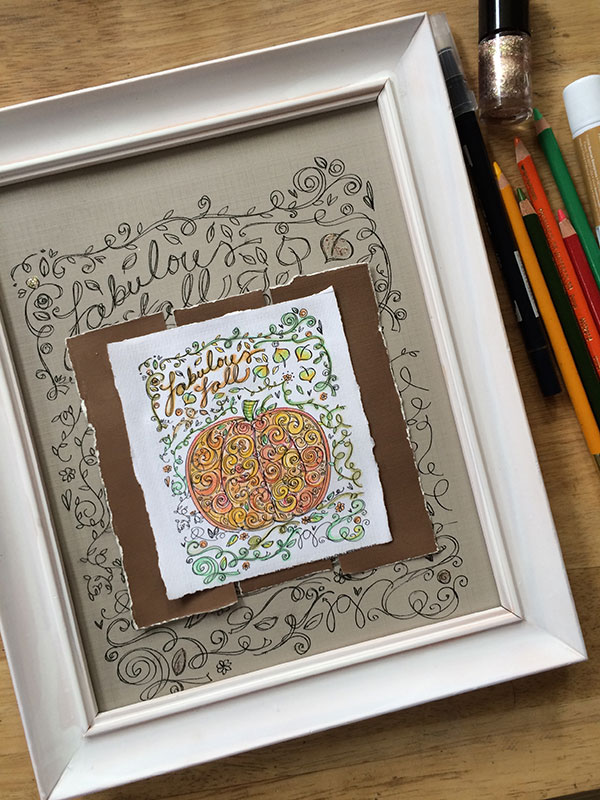 Pumpkin Coloring Page Art Decor by Jen Goode