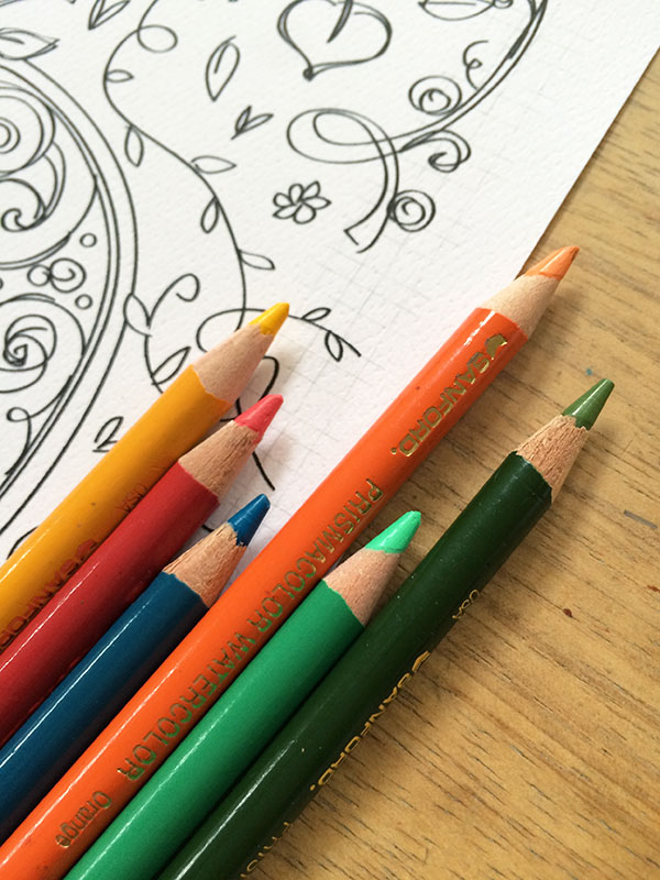 Colored pencils to color pumpkin coloring page