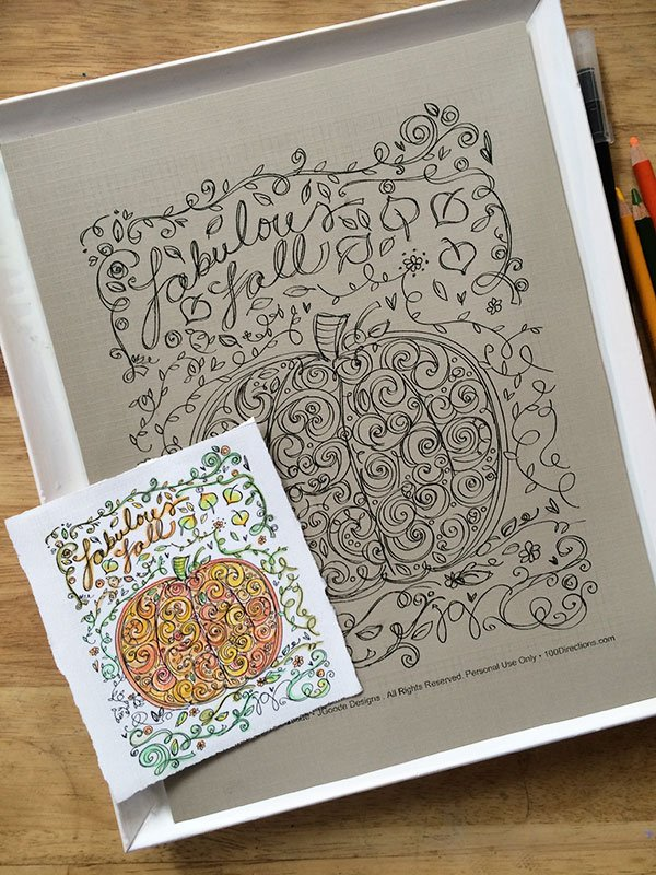 Make your own framed art with a Pumpkin coloring page designed by Jen Goode