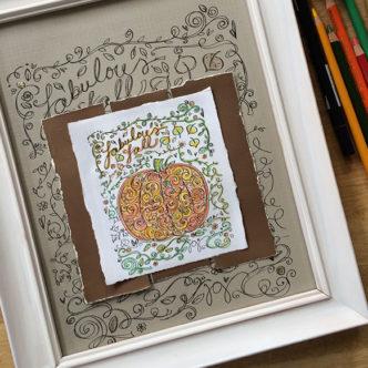 pumpkin coloring page designed by Jen Goode