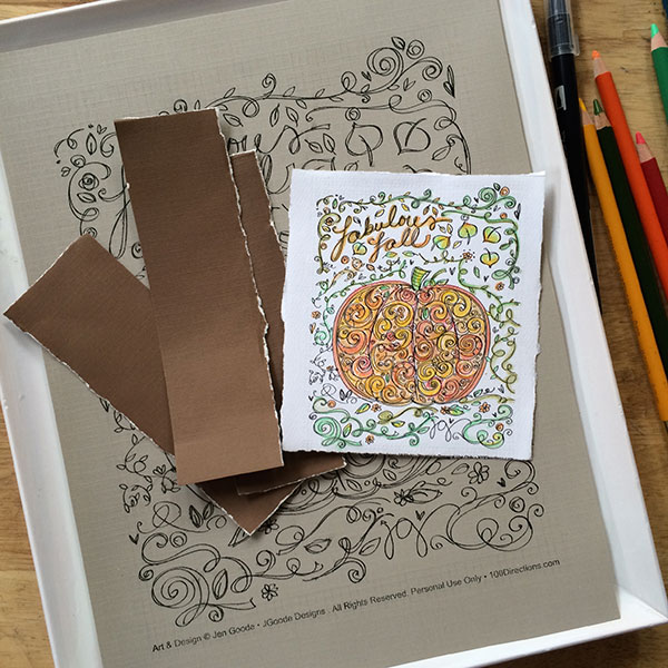 Supplies to make your own pumpkin coloring page art