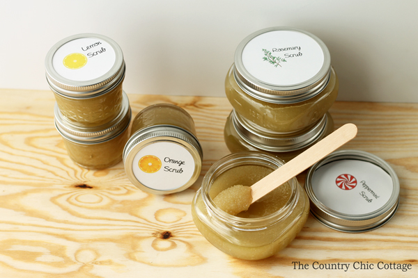 You can make this sugar scrub recipe with just three ingredients! This is perfect for holiday gift giving! Comes with the free printable to use for the jar lids as well!