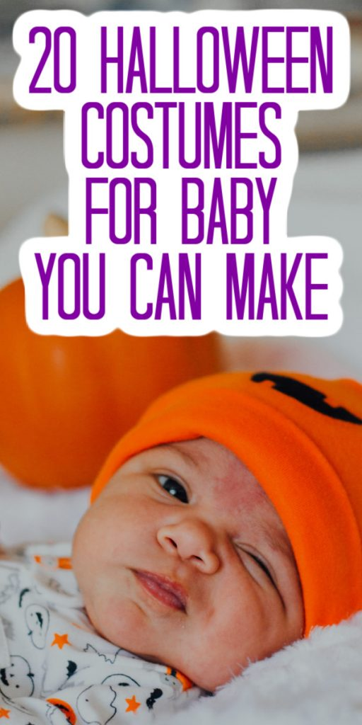 These baby Halloween costumes are all ones that you can make for your little one in minutes! Your little one will be celebrating their first Halloween in style! #halloween #baby #halloweencostume #costume