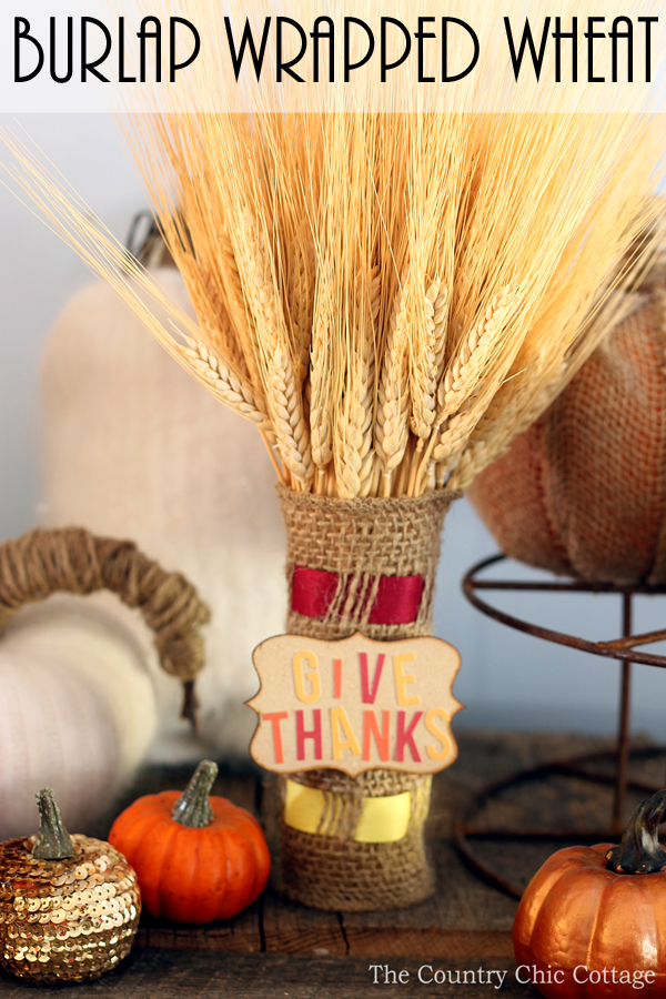 Burlap wrapped wheat for your fall home decor. Learn how to weave burlap with ribbon for a fun craft technique that you will use over and over!