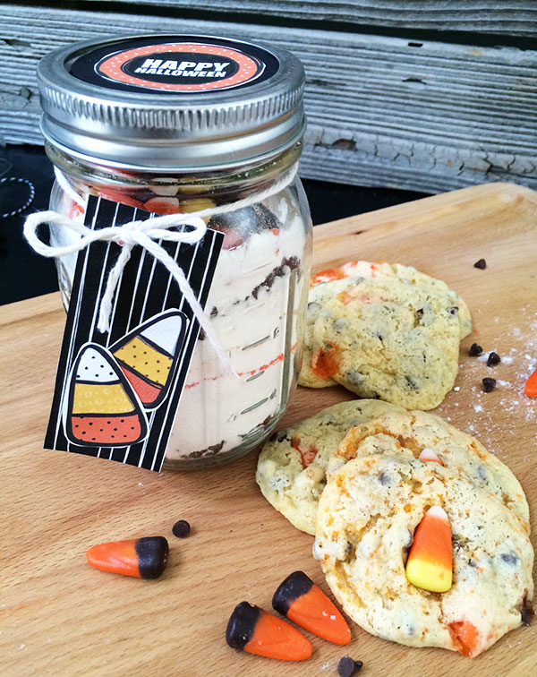 Candy Corn Cookies in a Jar