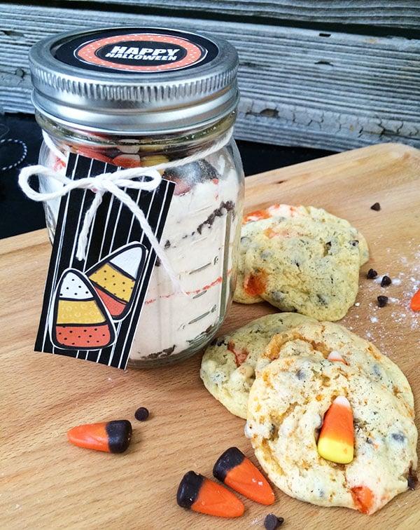 Candy Corn Cookies in a Jar