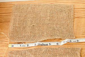 cutting burlap fabric