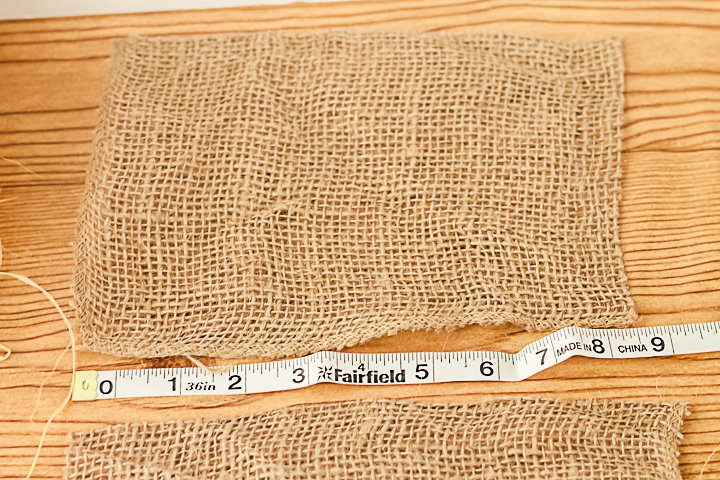 cutting burlap fabric