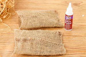 using fabric glue on burlap