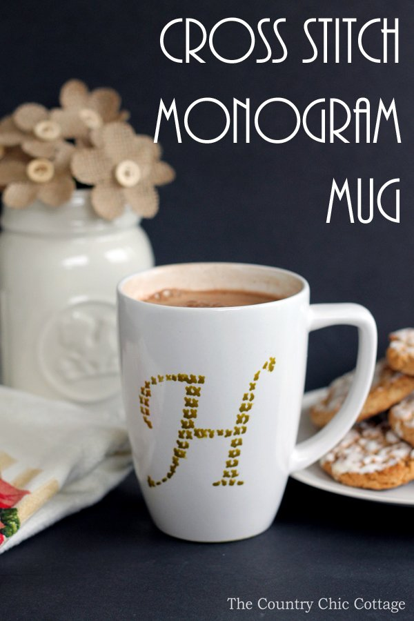 Make this cross stitch monogram mug in just minutes! Makes a great handmade gift!