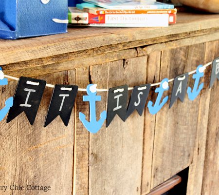 Make this nautical baby shower banner in minutes! Uses chalkboard elements so it can be re-used later as a decoration for the nursery.