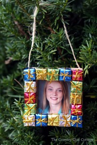 wrapped gift frame ornament