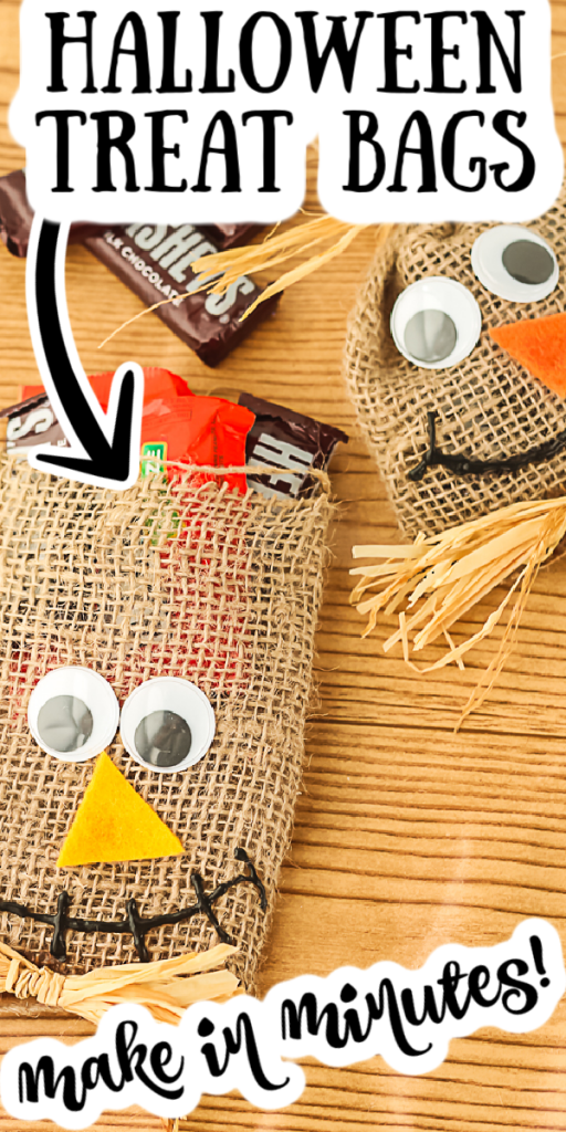 Make these DIY Halloween treat bags easily with just a few supplies! These cute scarecrow goodie bags are perfect for fall and all of your celebrations! #halloween #treatbags #scarecrow #burlap