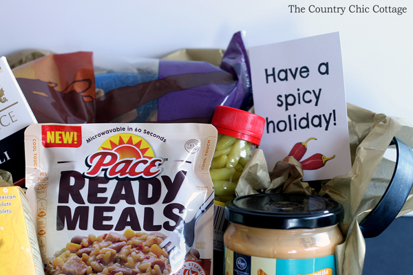 Make this spicy gift basket with free printable tag! A fun idea for the holidays!