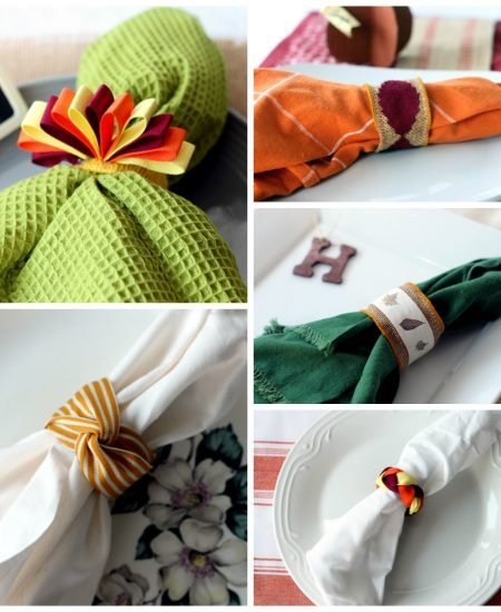 Thanksgiving napkin ring ideas -- five ideas for Thanksgiving or your fall dinner party.