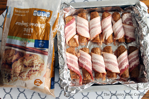 Get this recipe for brown sugar bacon wrapped sausage appetizers today! A super easy recipe that will be the hit of any holiday party!