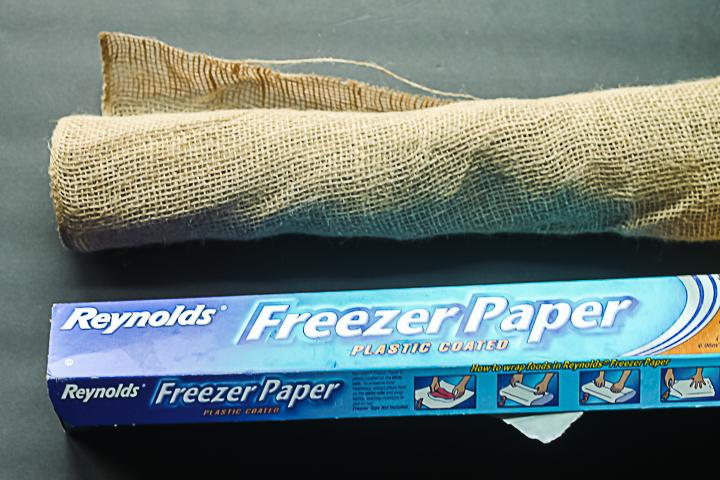 burlap and freezer paper