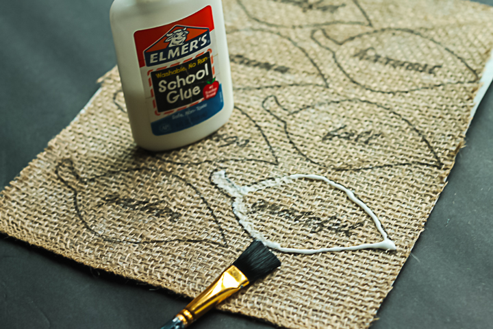 add glue to burlap so it will not fray