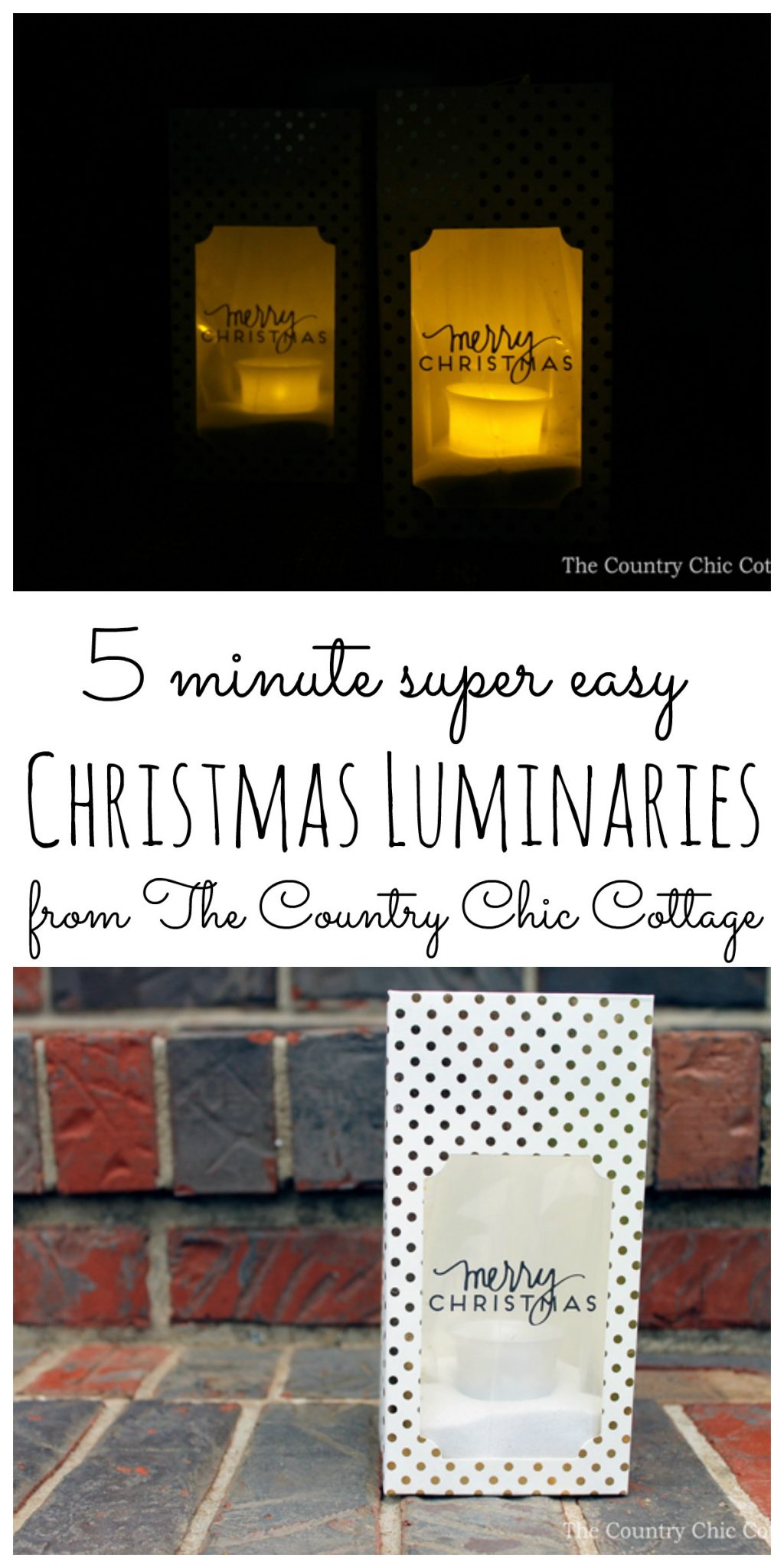I love these Christmas luminaries and they are so easy to make! Going to put them on the porch this Christmas!