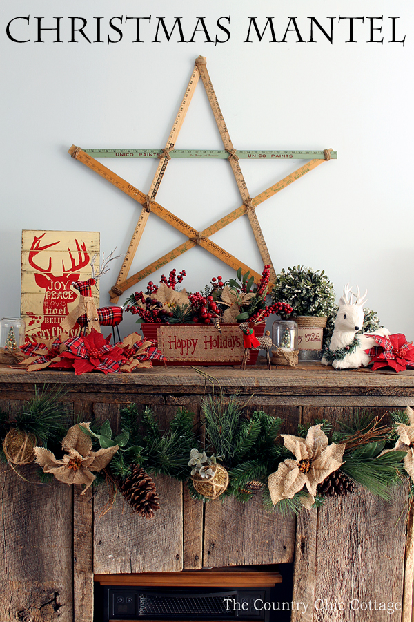 Loving These Rustic Christmas Mantel Decorating Ideas! Mason Jars, Burlap,  And Barnwood.