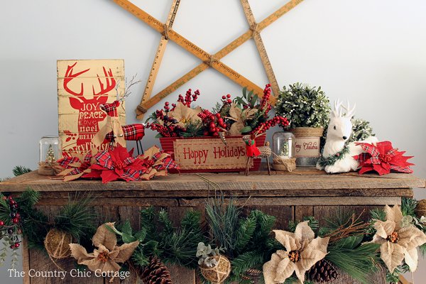 loving these rustic christmas mantel decorating ideas mason jars burlap and barnwood - Country Christmas Mantel Decorating Ideas