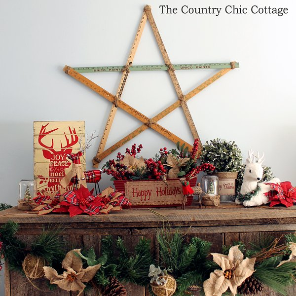 loving these rustic christmas mantel decorating ideas mason jars burlap and barnwood - Christmas Mantel Decorating Ideas