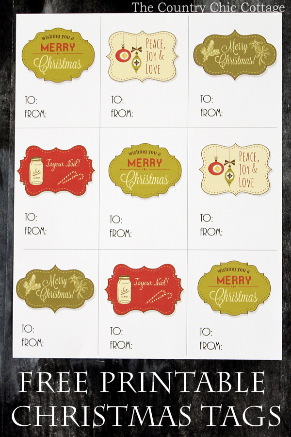 Free Printable Christmas Gift Tags - The Country Chic Cottage