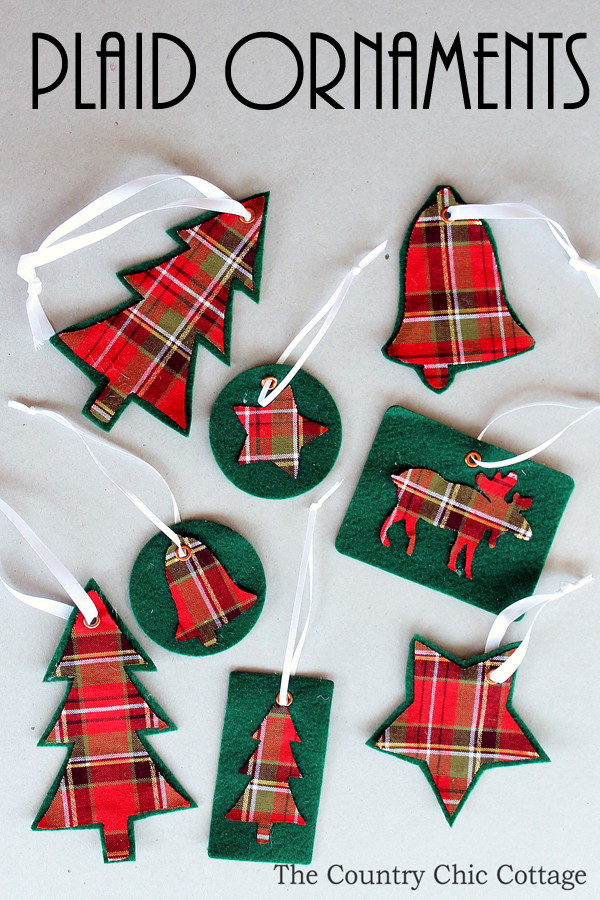 make your own plaid ornaments with this simple tutorial includes a video to show you