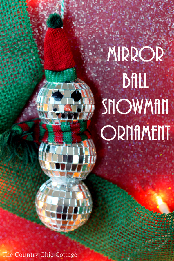 Mirror Ball Snowman Ornament Craft