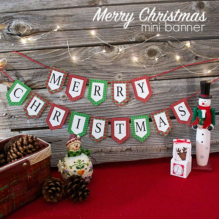 picture about Printable Merry Christmas Banner known as Mini Merry Xmas Banner and Holiday vacation Printables Weblog Hop